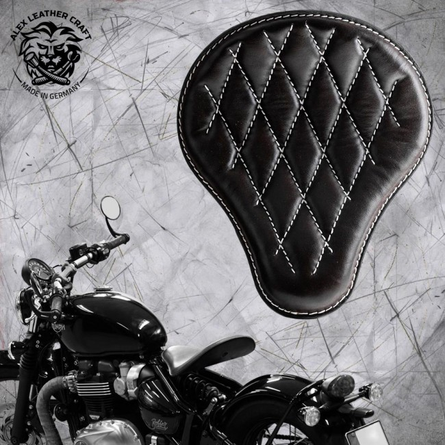 "Triumph Bonneville Bobber Seat since 2016 ""Standard"" Black and White Hand sewn V3"