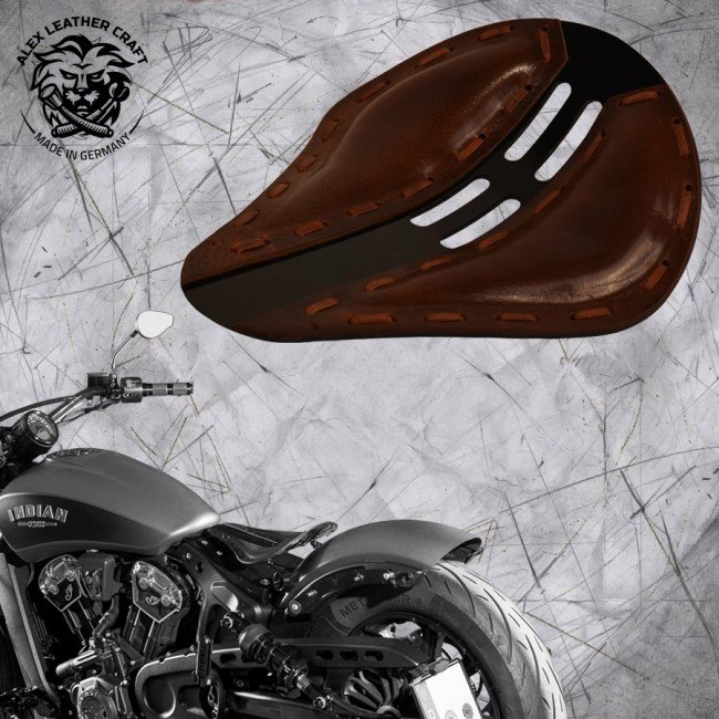 "Bobber Solo Seat for Indian Scout since 2017 ""Standard"" 4Fourth Buffalo Brown"