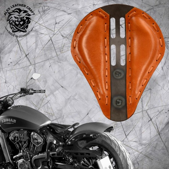 "Bobber Solo Seat for Indian Scout since 2017 ""Standard"" 4Fourth Buffalo Cognac"