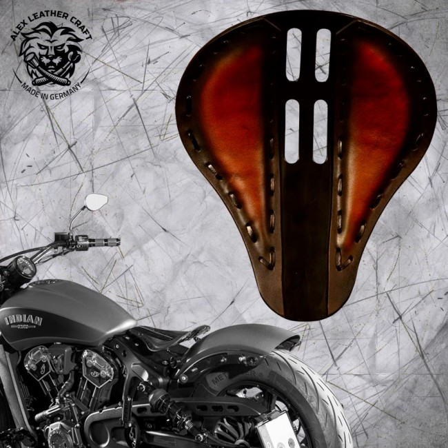 "Bobber Solo Seat for Indian Scout since 2017 ""Standard"" 4Fourth Saddle Tan"