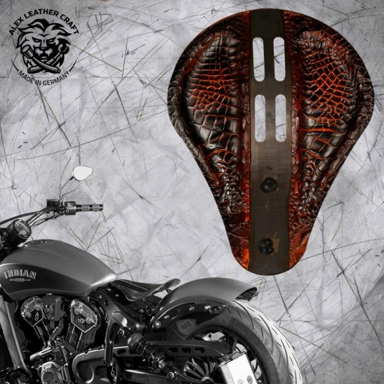 """Bobber Solo Seat for Indian Scout since 2017 """"Standard"""" 4Fourth Alligator Saddle Tan"""