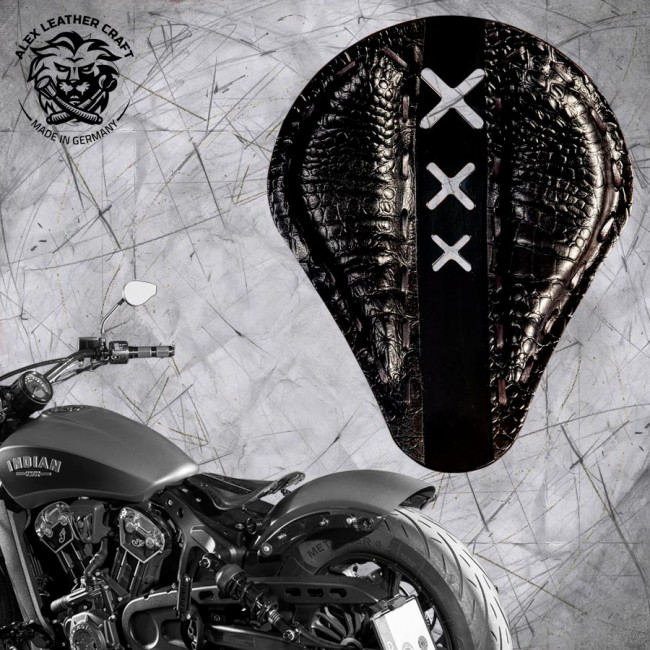 "Selle bobber solo pour Indian Scout ab 2017 ""Standard"" Amsterdam noir alligator"