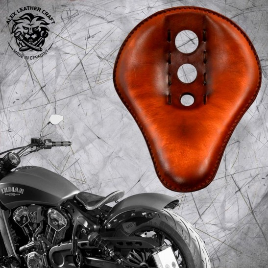 """Bobber Solo Seat for Indian Scout since 2017 """"Standard"""" Trinity Vintage Brown"""
