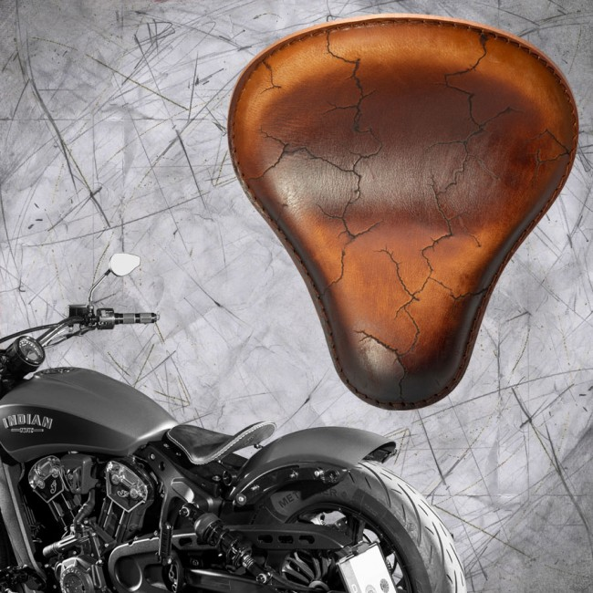 "Bobber Solo Seat for Indian Scout since 2017 ""Standard"" Vintage Brown Electro"