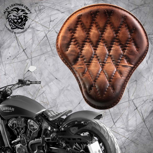 "Bobber Solo Seat for Indian Scout since 2017 ""Standard"" Vintage Brown V3"