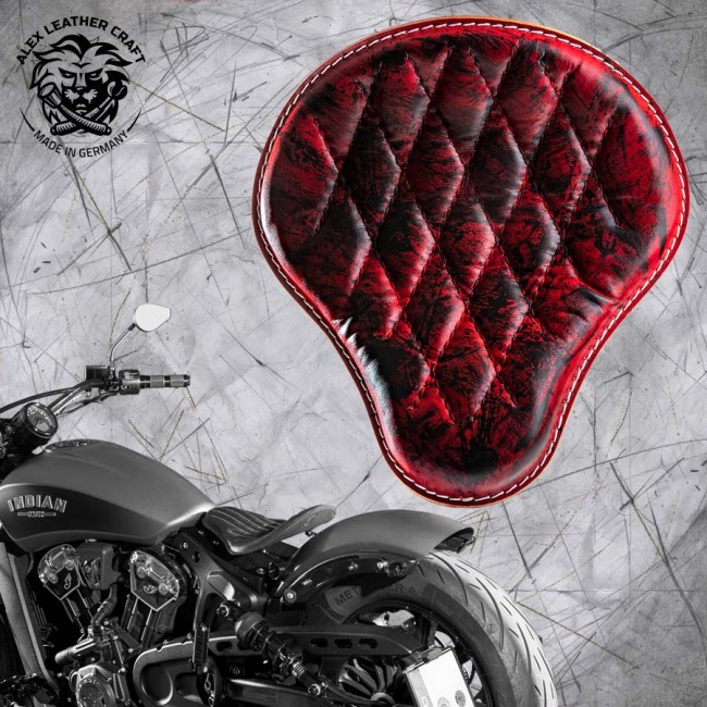 "Bobber Solo Seat for Indian Scout since 2017 ""Standard"" Red and Black V3"