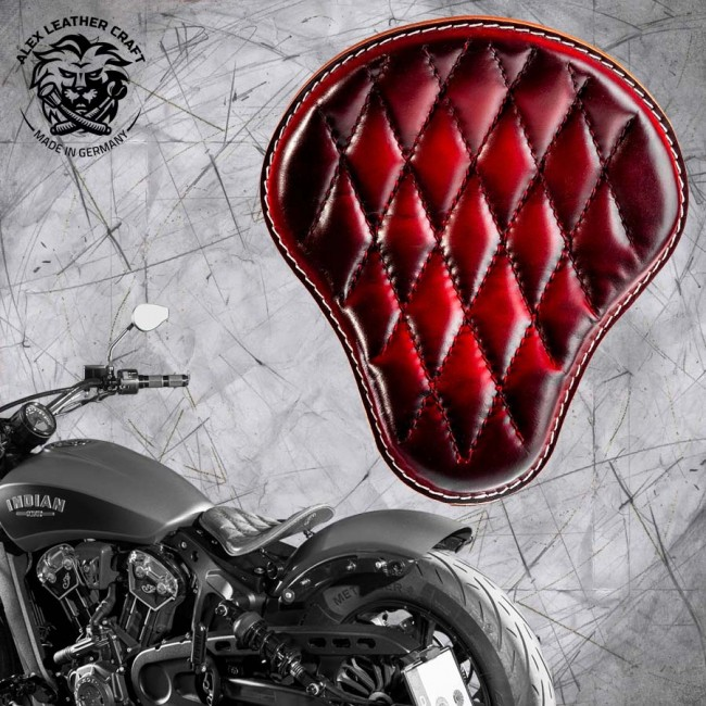 "Bobber Solo Seat for Indian Scout since 2017 ""Standard"" Red V3"