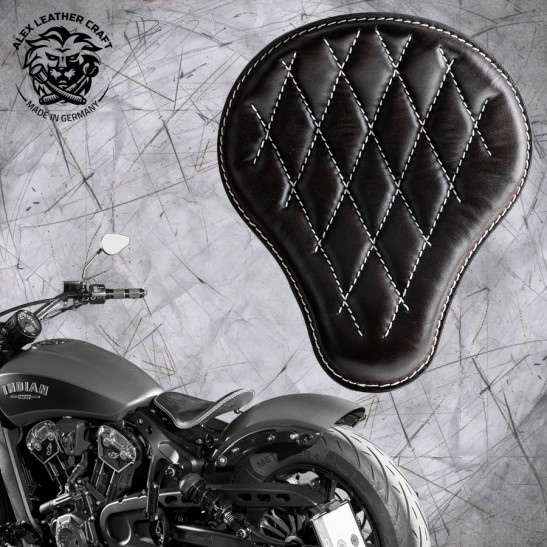 "Bobber Solo Seat for Indian Scout since 2017 ""Standard"" Black and White V3"