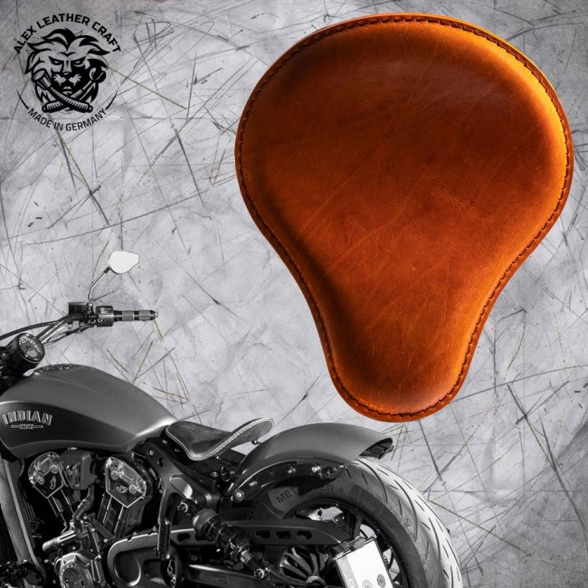 "Bobber Solo Seat for Indian Scout since 2017 ""Standard"" Buffalo Cognac"