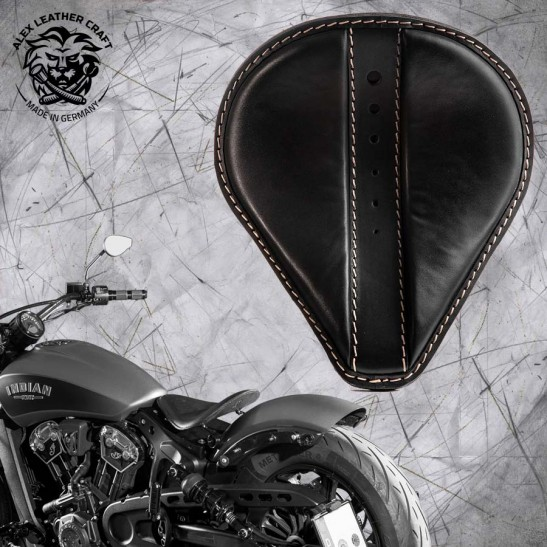"Bobber Solo Seat for Indian Scout since 2017 ""Drop"" Moiety Black"