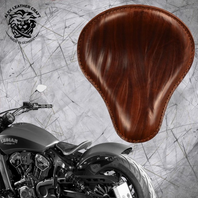 "Bobber Solo Seat for Indian Scout since 2017 ""Standard"" Wrinkle Brown"