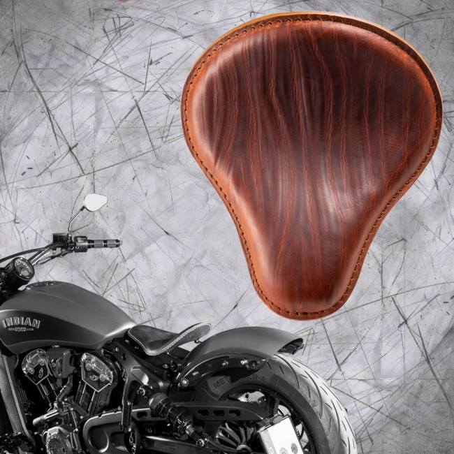 "Bobber Solo Seat for Indian Scout since 2017 ""Standard"" Wrinkle Cognac"