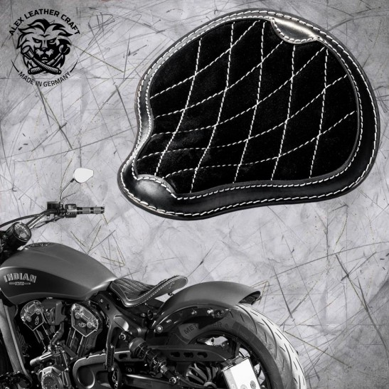 "Bobber Solo Seat for Indian Scout since 2017 ""Standard"" Gloss and Velvet Black and White V3"