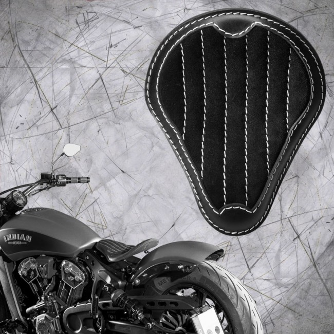 "Bobber Solo Seat for Indian Scout since 2017 ""Standard"" Gloss and Velvet Black and Beige V2"