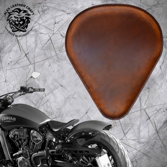 "Bobber Solo Seat for Indian Scout since 2017 ""Drop"" Vintage Brown"