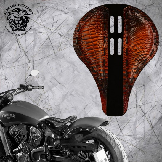"""Bobber Solo Seat for Indian Scout since 2017 """"4Fourth"""" Long Alligator metal"""