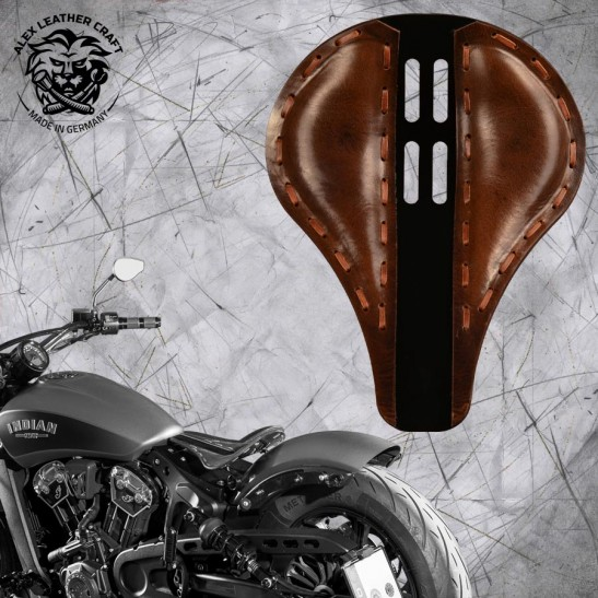 "Bobber Solo Seat for Indian Scout since 2017 ""Long"" 4Fourth Buffalo Brown"