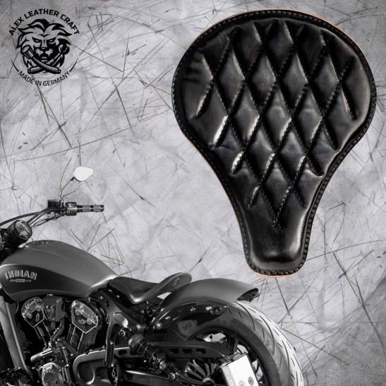 "Selle bobber solo pour Indian Scout ab 2017 ""Long"" vintage noir V3"