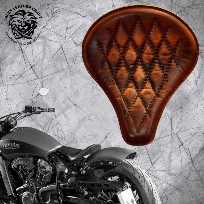 "Selle bobber solo pour Indian Scout ab 2017 ""Long"" vintage marron V3"