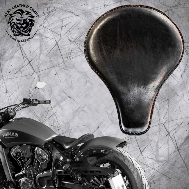 "Selle bobber solo pour Indian Scout ab 2017 ""Long"" vintage noir"