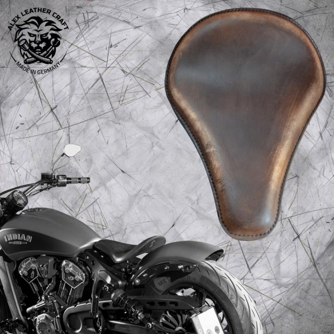 "Selle bobber solo pour Indian Scout ab 2017 ""Long"" vintage chocolate"