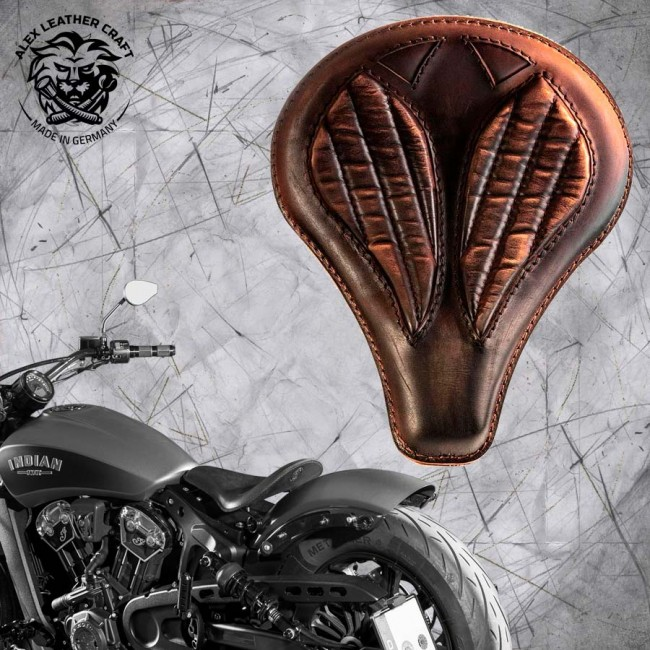 "Selle bobber solo pour Indian Scout ab 2017 ""Long"" vintage marron V2"