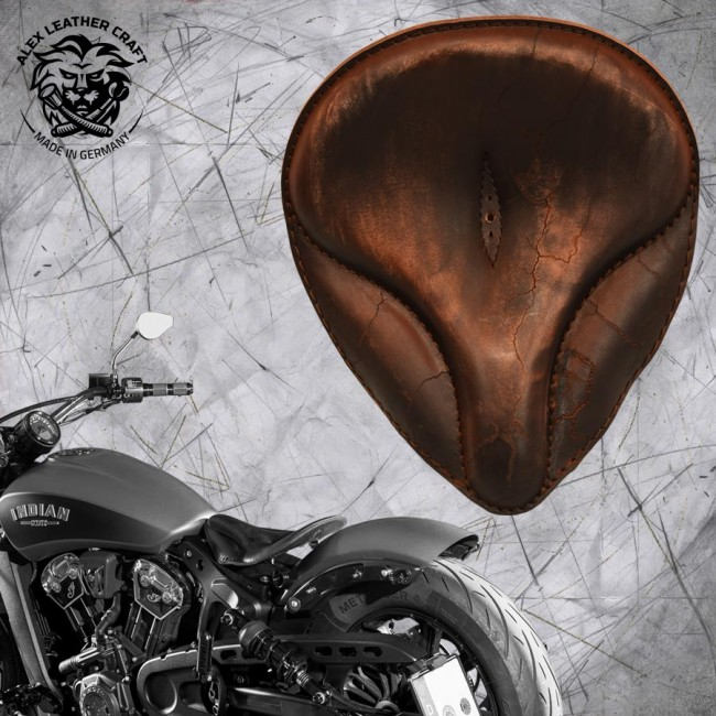 """Bobber Solo Seat for Indian Scout since 2017 """"Old time"""" Vintage Brown Electro"""