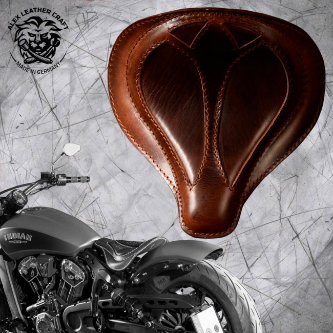 "Selle bobber solo pour Indian Scout ab 2017 ""Araignée"" Buffalo Marron"