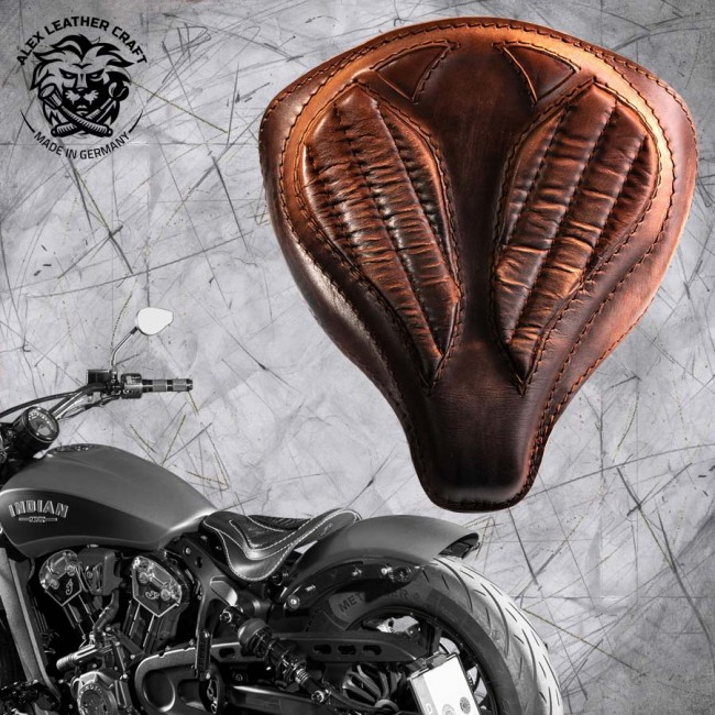 "Bobber Solo Seat for Indian Scout since 2017 ""Spider"" Vintage Brown V2"