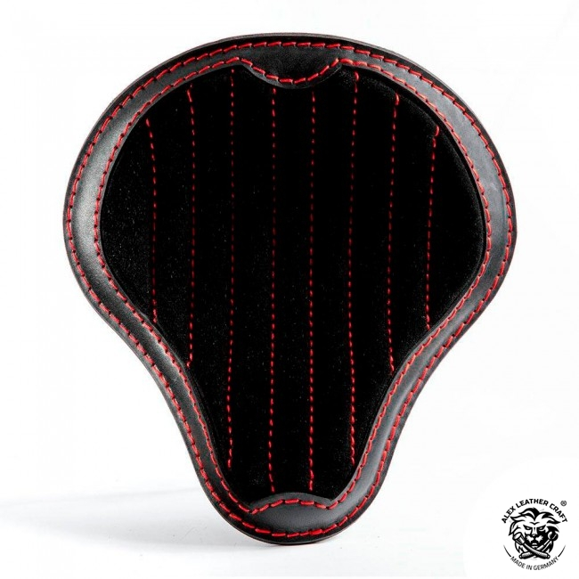 "Bobber & Chopper Custom Seat ""Gloss and Velvet"" Black and Red V2"