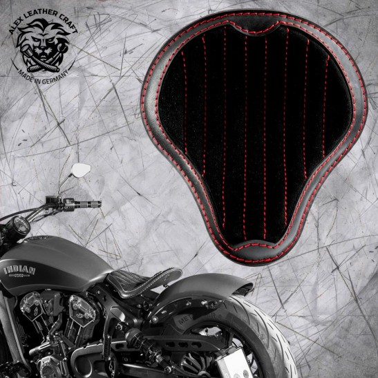 """Bobber Solo Seat for Indian Scout since 2017 """"Standard"""" Gloss and Velvet Black and Red V2"""