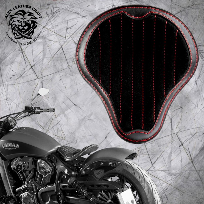 "Bobber Solo Seat for Indian Scout since 2017 ""Standard"" Gloss and Velvet Black and Red V2"