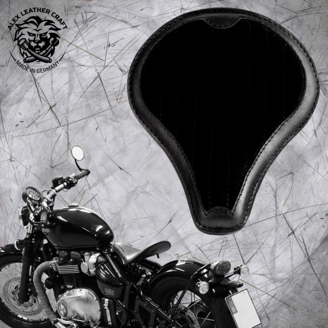 "Triumph Bonneville Bobber Seat since 2016 ""Long"" Gloss and Velvet Black V2"