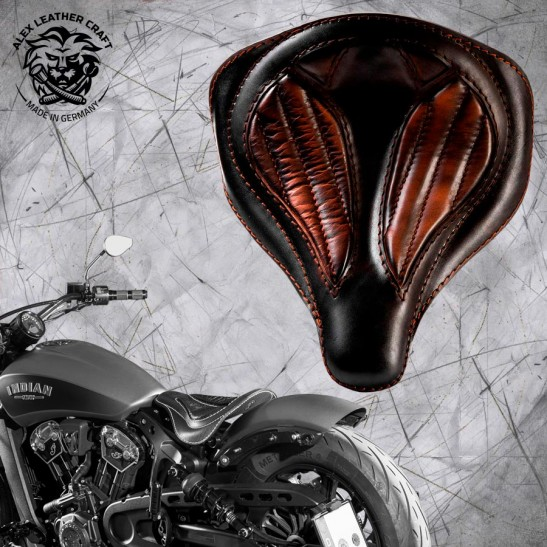 """Bobber Solo Seat for Indian Scout since 2017 """"Spider"""" Black and Brown V2"""