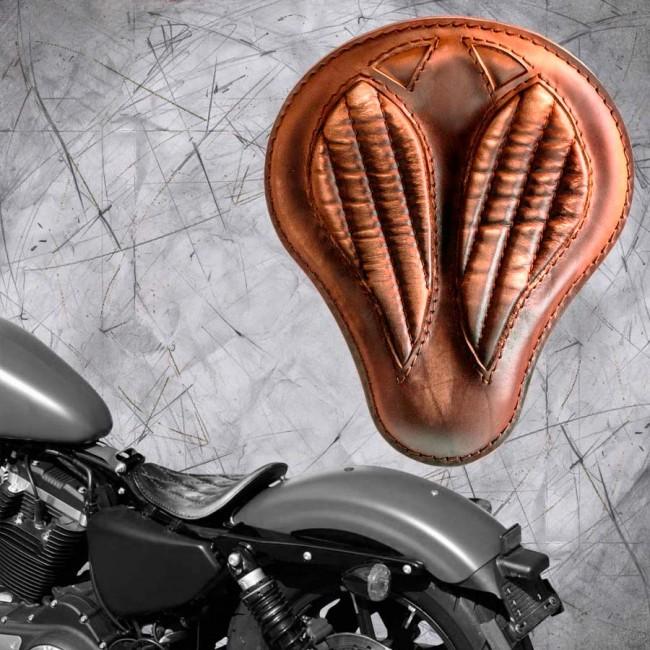 """Solo Sitz Harley Davidson Sportster 04-20 """"Kurz"""" Vintage Braun V2"""
