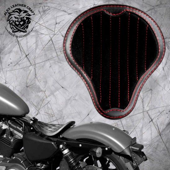 """Solo Selle Harley Davidson Sportster 04-20 """"Gloss et Velours"""" noir et rouge V2"""