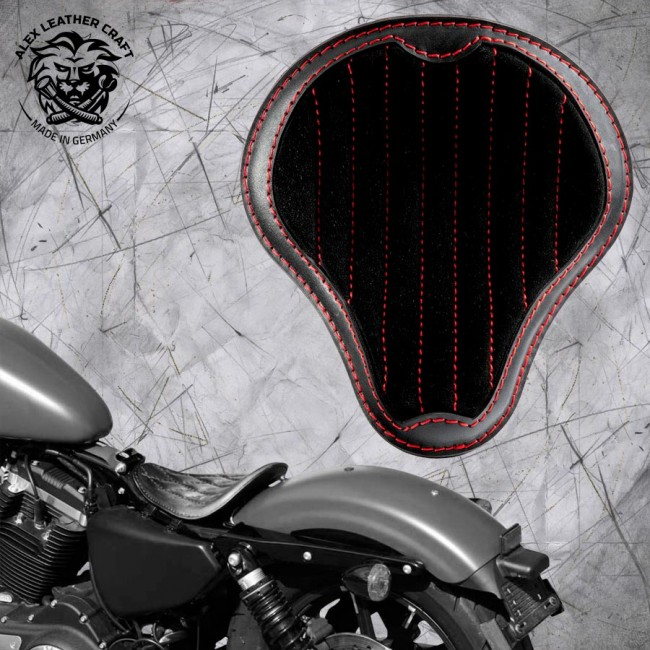 """Solo Sitz Harley Davidson Sportster 04-20 """"Glanz und Samt"""" Schwarz und Rot V2"""
