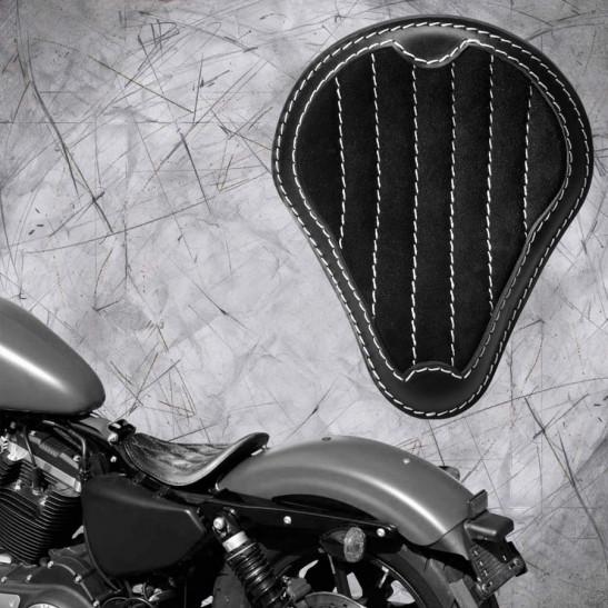 """Solo Seat Harley Davidson Sportster 04-20 """"Gloss and Velvet"""" Black & Beige V2"""