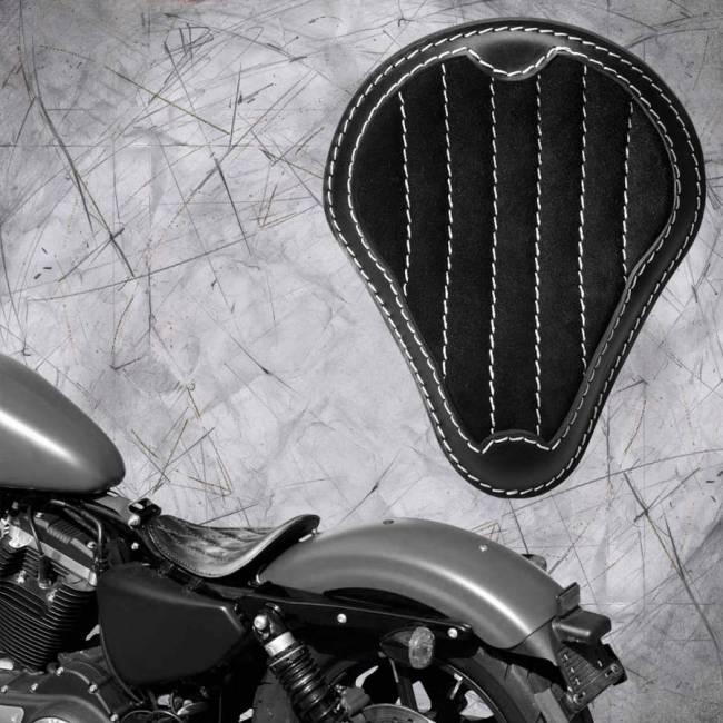 """Solo Sitz Harley Davidson Sportster 04-20 """"Glanz und Samt"""" Schwarz und Weiß V2"""