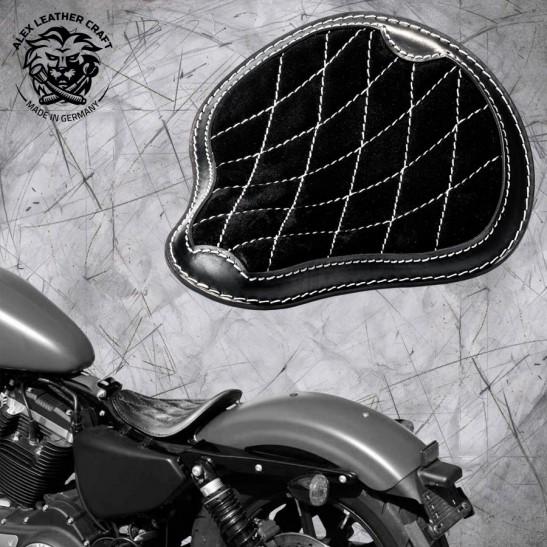 """Solo Selle Harley Davidson Sportster 04-20 """"Gloss et Velours"""" Noir et Blanc V3"""