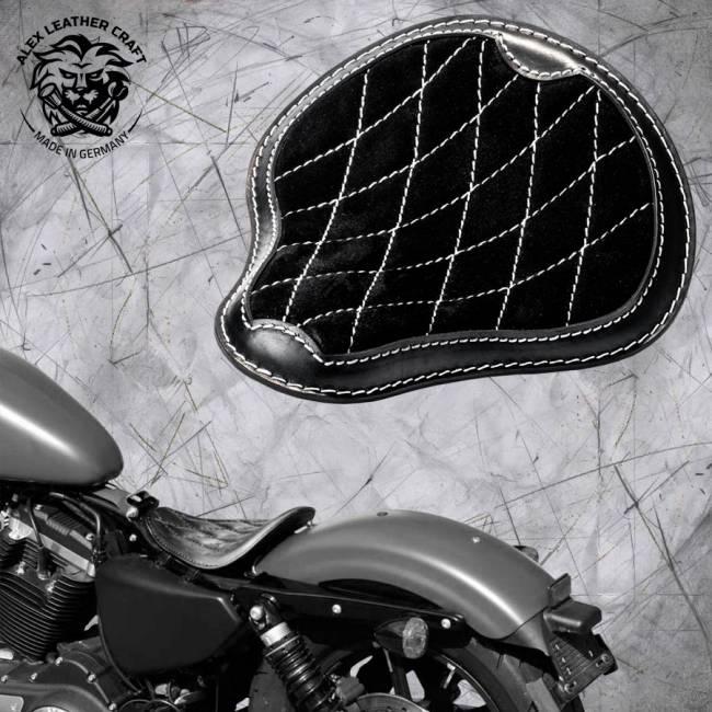 """Solo Sitz Harley Davidson Sportster 04-20 """"Glanz und Samt"""" Schwarz und Weiß V3"""