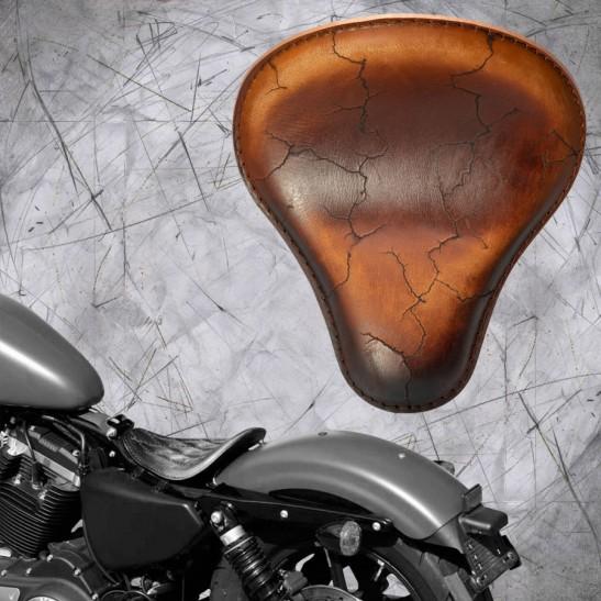 Solo Selle Harley Davidson Sportster 04-20 Vintage Marron Électro