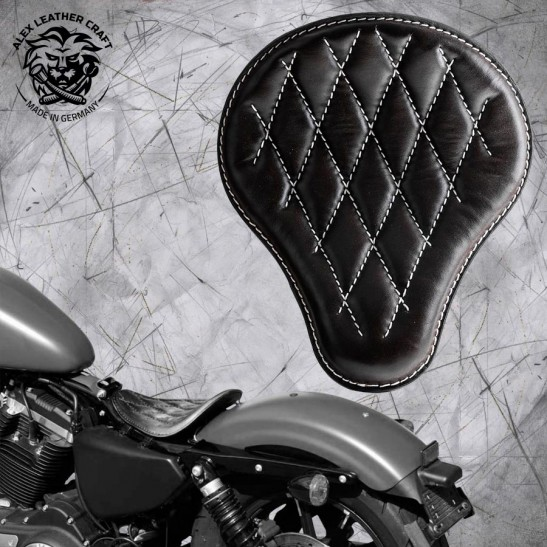 Solo Seat Harley Davidson Sportster 04-20 Black and White V3