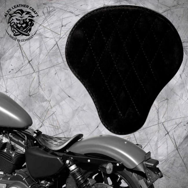 """Solo Seat Harley Davidson Sportster 04-20 """"Velvet"""" Black V3"""