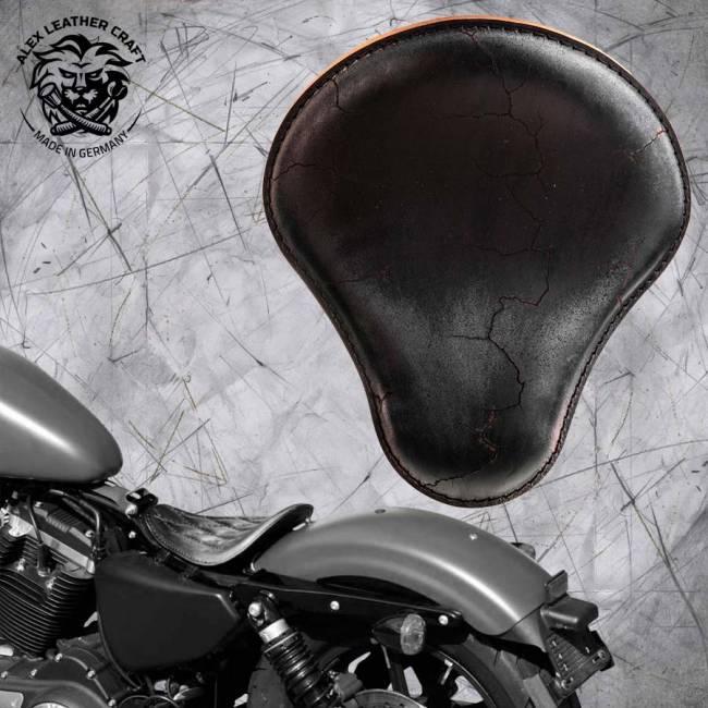 Solo Sitz Harley Davidson Sportster 04-20 Vintage Schwarz Electro