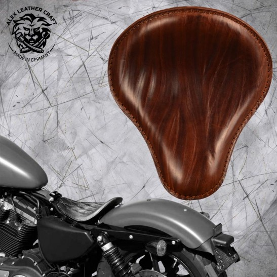"Solo Seat Harley Davidson Sportster 04-20 ""Wrinkle"" Brown"