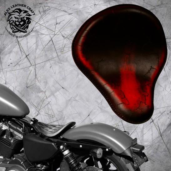 Solo Sitz Harley Davidson Sportster 04-20 Vintage Rot Electro