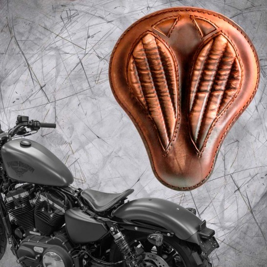 """Solo Selle + Montage Kit Harley Davidson Sportster 04-20 """"Short"""" Vintage marron V2"""