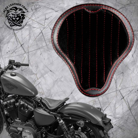"""Solo Selle + Montage Kit Harley Davidson Sportster 04-20 """"Gloss et Velours"""" noir et rouge V2"""