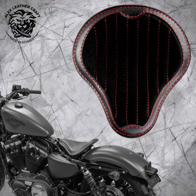 """Solo Sitz + Montage Kit Harley Davidson Sportster 04-20 """"Glanz und Samt"""" Schwarz und Rot V2"""